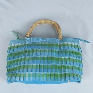Braciano Wood Handle Purse Blue Green Box Pleated